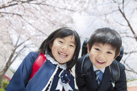 桜の木の下で笑う小学1年生の男女