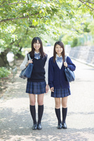並木道に立つ2人の日本人女子高生