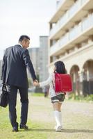 手を繋いで歩く父と娘 10272005247| 写真素材・ストックフォト・画像・イラスト素材|アマナイメージズ