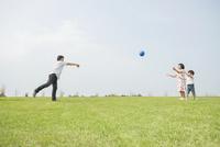 草原でボール遊びをする親子 10272005359| 写真素材・ストックフォト・画像・イラスト素材|アマナイメージズ