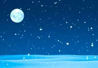月と雪原に降る雪