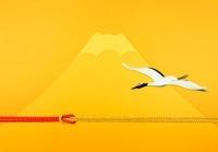 金色の富士山に鶴