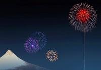 浮世絵の富士山と花火