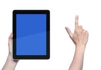 タブレットPCと指差す手