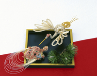 正月イメージ 水引の鶴と亀