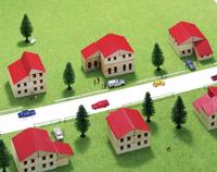 緑の中の家と道