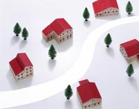 赤い屋根の家 10285002706| 写真素材・ストックフォト・画像・イラスト素材|アマナイメージズ