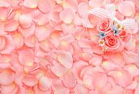 一面に敷詰められたピンクのバラと花びら