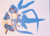 貝殻と海の文字(青) 夏