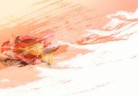 桜と落ち葉とペインティング(オレンジ色・白) 秋