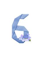 紫陽花と数字6の折り紙