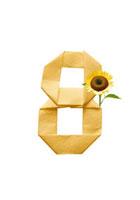 ひまわりと数字8の折り紙