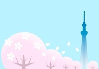 スカイツリーの見える桜並木