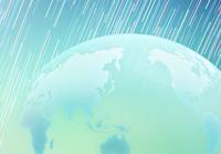 回転する星空と透明の地球