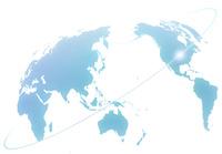 世界地図と光のライン