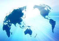 世界地図と光芒