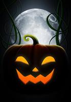 ハロウィンのカボチャと月