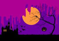 ハロウィンの夜のシルエットイメージ