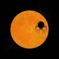 月にシルエットのクモとクモの巣のハロウィンイメージ