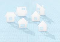 マス目の上にシルエットの家並 10319000092| 写真素材・ストックフォト・画像・イラスト素材|アマナイメージズ