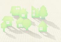 マス目の上にシルエットの家並と木
