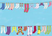 洗濯された色々な靴下