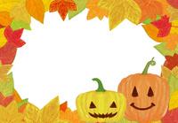 ハロウィンのカボチャと落ち葉のフレーム