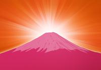 日の出と赤い富士山のイラスト