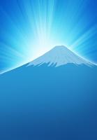 日の出と青い富士山のイラスト