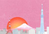 東京の町と富士山に日の出のイラスト