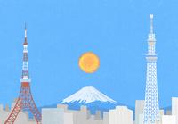 東京の町と富士山のイラスト