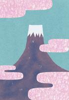 富士山と丹頂鶴のコラージュイラスト