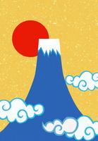 富士山と日の出のコラージュイラスト