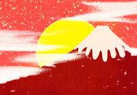 赤富士と日の出のコラージュイラスト