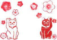 招き猫と梅のハンコ
