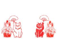 招き猫と門松のハンコ