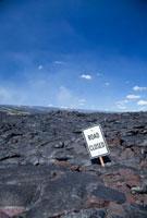 溶岩に埋まった道路標識