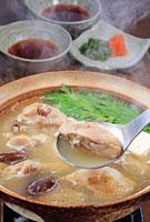 玉杓子ですくった水炊き