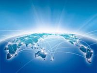 半円に描かれた世界地図のネットワークイメージ