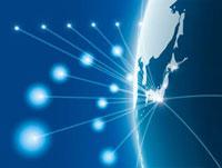 半円に描かれた日本地図のネットワークイメージ