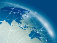 アジア周辺地図を配したグローバルネットワーク背景