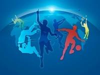 世界地図とオリンピック競技のシルエット