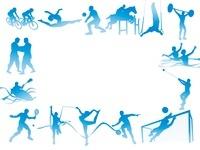 フレーム型のオリンピック競技のシルエット白背景