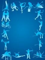 フレーム型のオリンピック競技のシルエット青背景