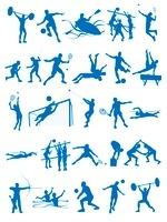 オリンピック競技のシルエットシンボル白背景