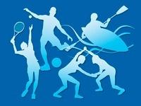 オリンピック競技のシルエット青背景