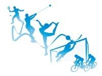 オリンピック競技のシルエット白背景