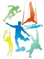 カラフルなオリンピック競技のシルエット白背景