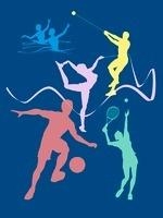 カラフルなオリンピック競技のシルエット