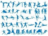 オリンピック競技のシルエットシンボル 白背景